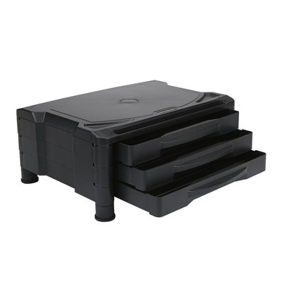 Mind Reader 3 Drawer Tier Plastic Monitor Stand with Storage for Computer, Black