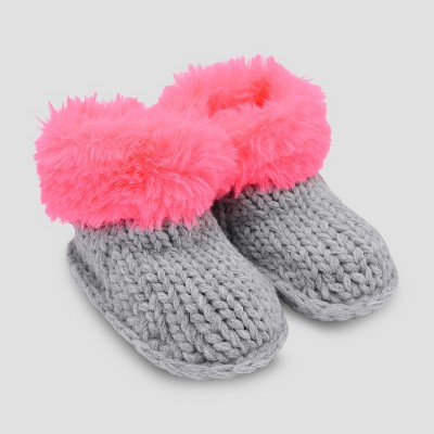Baby Girls' Faux Fur Bootie Slippers - Cat & Jack™ Pink 0-6M