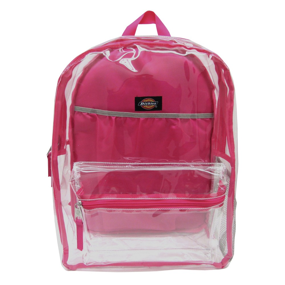 "Image of ""Dickies 17"""" Clear Student Backpack - Clear/Pink"""