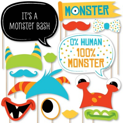Big Dot of Happiness Monster Bash - Little Monster Birthday Party or Baby Shower Photo Booth Props Kit - 20 Count