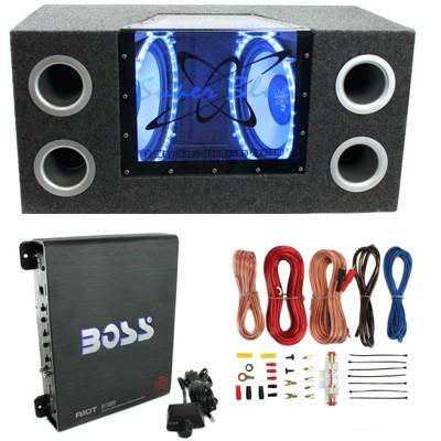"""Pyramid BNPS122 12"""" 1200W Car Audio Subwoofer w/ Box,1100W Mono Amp,& Wiring Kit"""