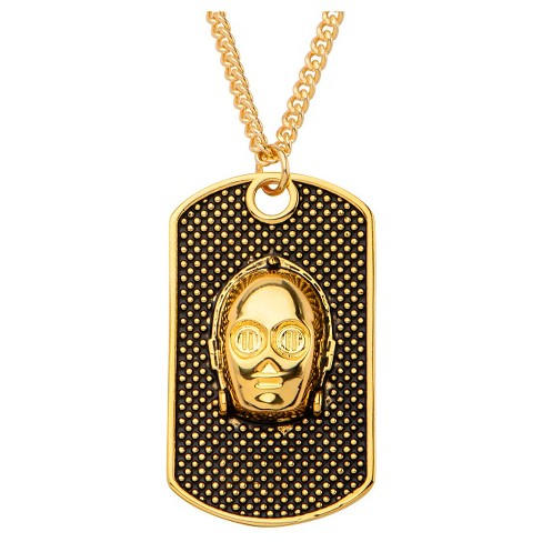 "Men's Star Wars 3D C-3PO Stainless Steel Dog Tag with Chain - Gold (22"") - image 1 of 2"