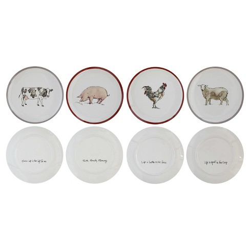 "3R Studios Collected Notions Ceramic Salad Plate 8 "" White - Set of 4 - image 1 of 1"