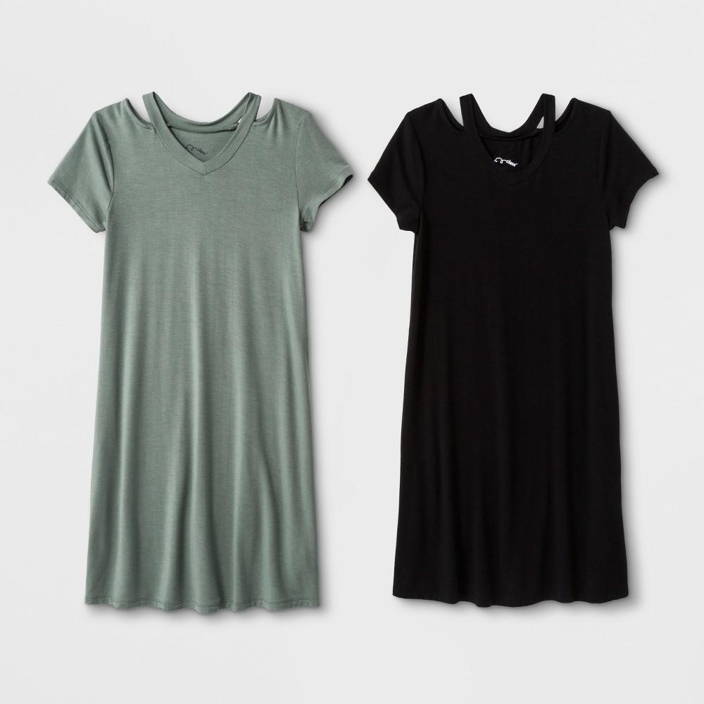 Girls' 2pk Short Sleeve Cut Out A Line Dress - art class Black/Olive Xxl, Blue