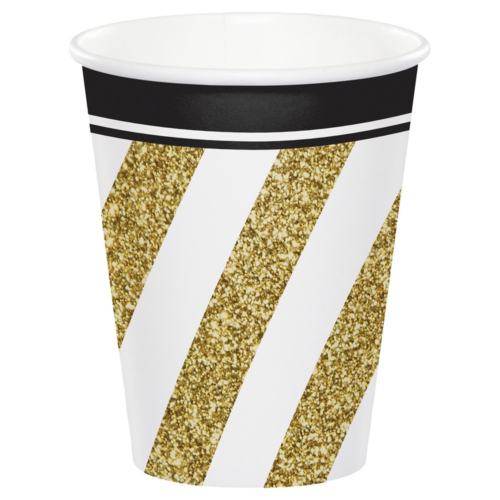 8ct Black & Gold Cups, Disposable Drinkware