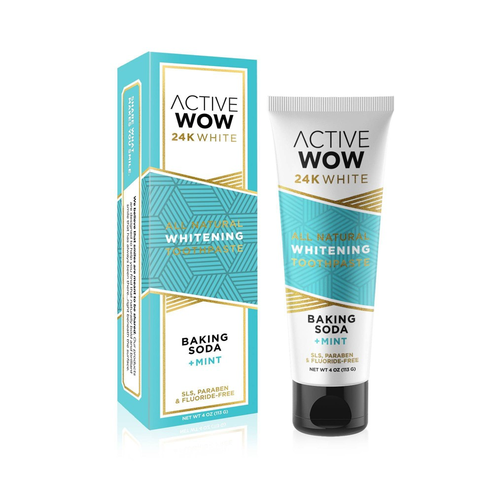 Active Wow 24K White Baking Soda Whitening Toothpaste contains a naturally brilliant formula that whitens your teeth with the power of baking soda. It?s your new best friend for detoxifying the mouth, removing bad breath, and gently polishing away stains quickly and easily. Best of all, it?s free from chemicals, artificial flavors and colors. Thanks to our natural and chemical-free formula, you are only a few steps away from a dazzling new smile. Easy to use, affordable, and enamel safe, our baking soda will make you shine like never before. Uncover what you already have, show your smile to the people you love, and share what makes you smile. Gender: unisex. Age Group: adult.