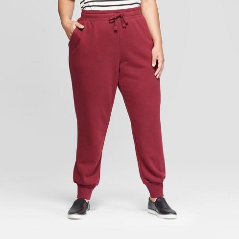 980d2fd75f48 Women s Plus Size Jogger Pants - Ava   Viv™ Burgundy   Target