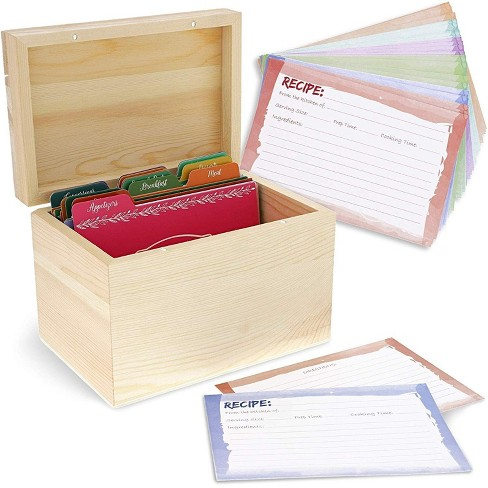 Juvale Unfinished Wood Recipe Box for DIY Crafts with Cards and Dividers - image 1 of 4