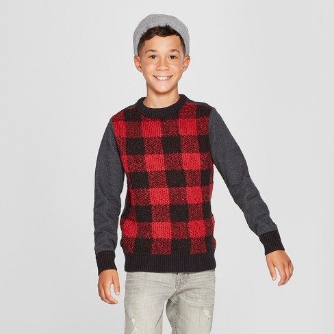Boys' Long sleeve Checked Pullover Sweater - Cat & Jack™ Charcoal Gray/Red/Black - image 1 of 3