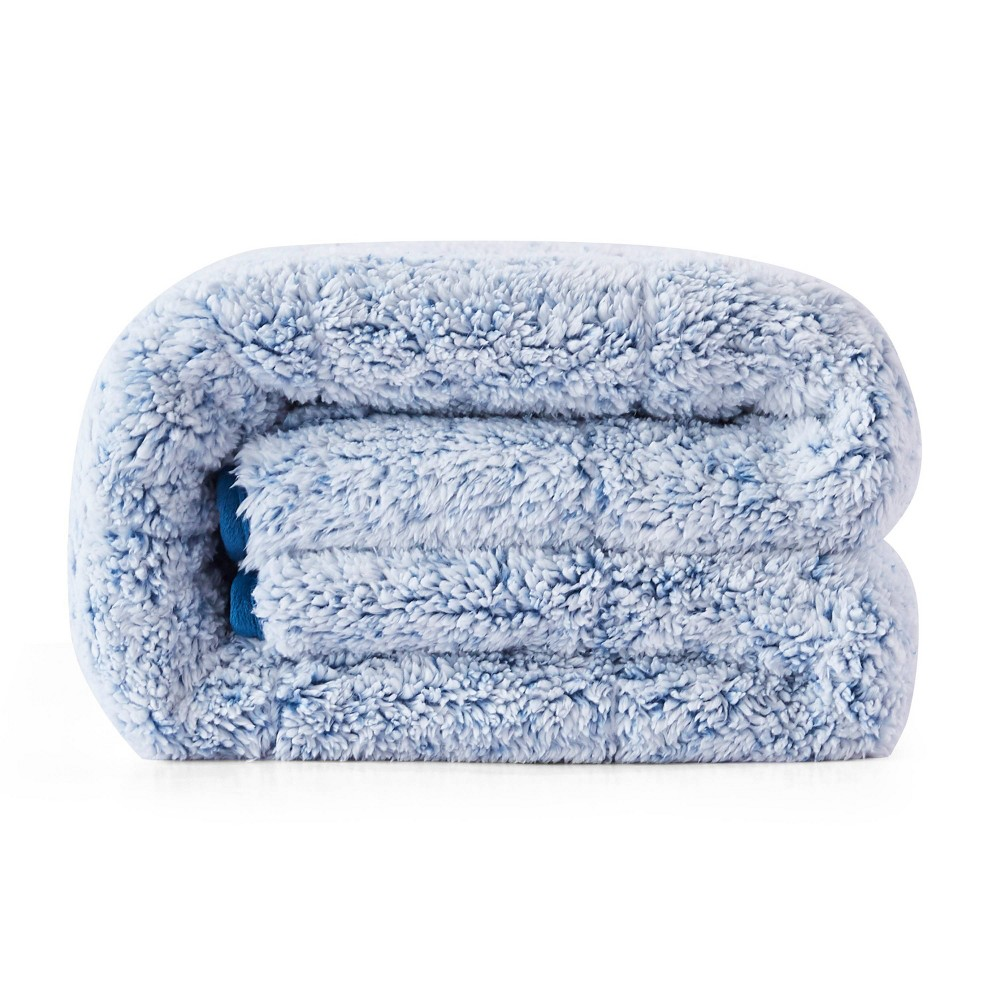 "Image of ""48"""" x 72"""" 15lbs Reversible Teddy Sherpa Weighted Bed Blanket Blue - Dreamothis"""