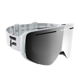 Flaxta Plenty Unisex Ski & Snowboard Goggles - White w/Double Mirror Silver Lens