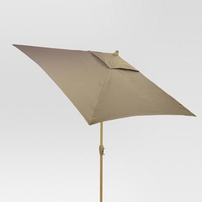 6.5' Square Umbrella - Taupe - Light Wood Finish - Threshold™