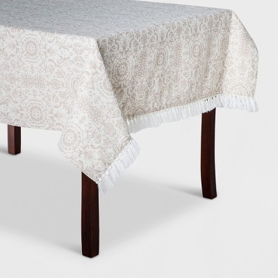 "52""x70"" Damask Tablecloth Beige - Threshold™"