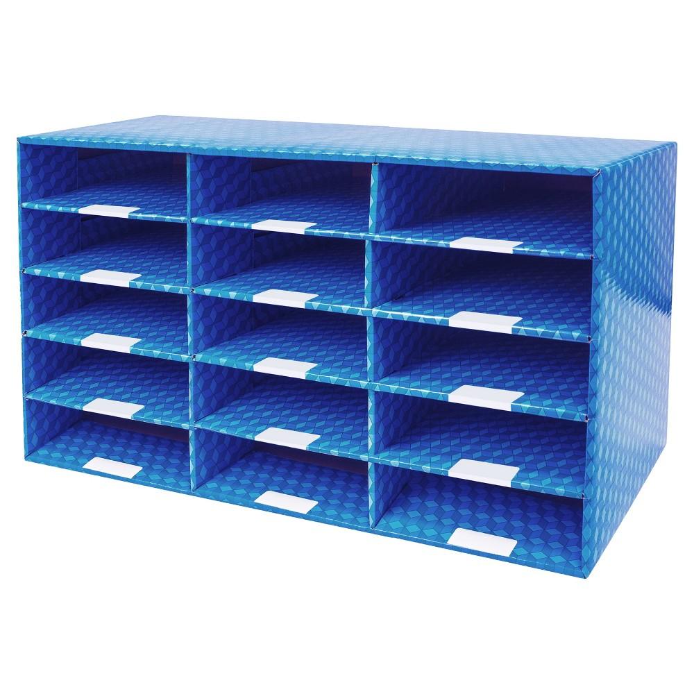 Storex Corrugated Mailroom Sorter 15 Compartments - Blue, Black