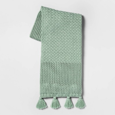 Chunky Knit with Tassels Throw Blanket Mint - Opalhouse™