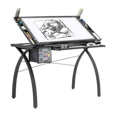 Artograph Futura LED 500 to 5,500 Lumen Adjustable Angle Home Drafting Light Table Drawing Desk for Tracing, Scrapbooking, Stenciling, and More, Black
