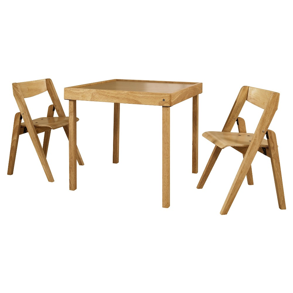 Image of 3pc Juvenile Folding Furniture Set Natural - Stakmore