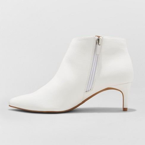 ee67bdabcd8 Women s Dominique Pointed Kitten Heel Wide Width Booties - A New Day™ White  6.5W   Target