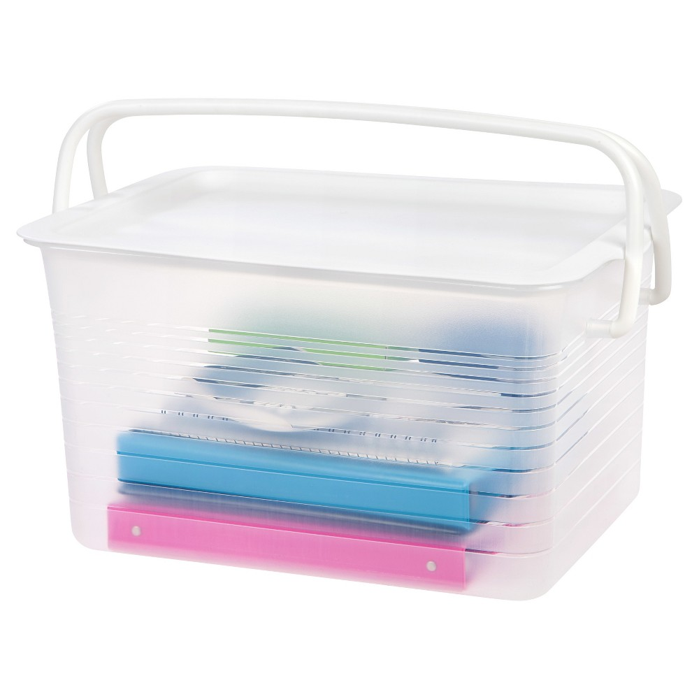 Iris Large Stacking Plastic Storage Basket with Handles - 4pk, Clear