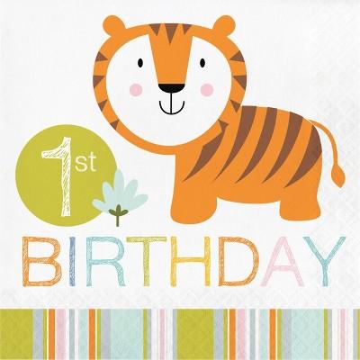 48ct Happy Jungle 1st Birthday Napkins