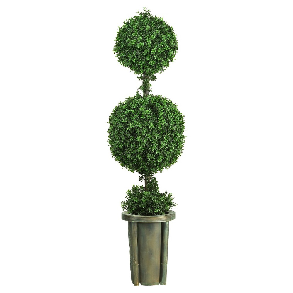 Image of Artificial 5ft Double Ball Leucodendron Topiary With Decorative Vase Indoor/Outdoor - Nearly Natural
