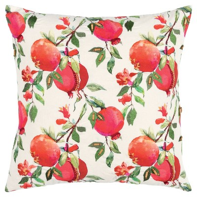 """20""""x20"""" Oversize Botanical Pomegranate Square Throw Pillow Cover - Rizzy Home"""