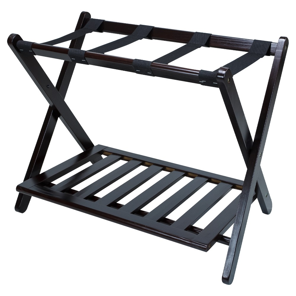 Luggage Rack with Shelf - Espresso (Brown) - Flora Home