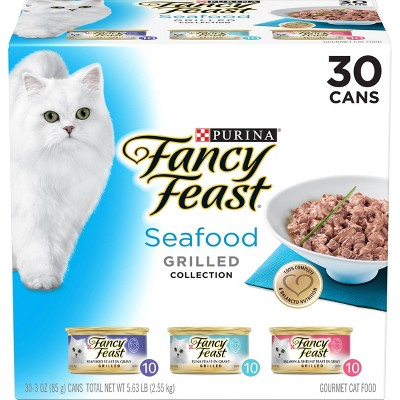 Purina Fancy Feast Seafood Collection Gourmet Wet Cat Food Grilled Collection - 3oz/30ct Variety Pack