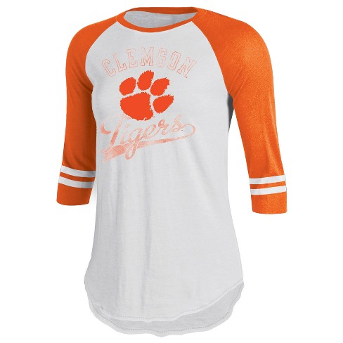 newest 6eaaa 48a51 Clemson Tigers Women's Retro Tailgate White/3/4 Sleeve T-Shirt S