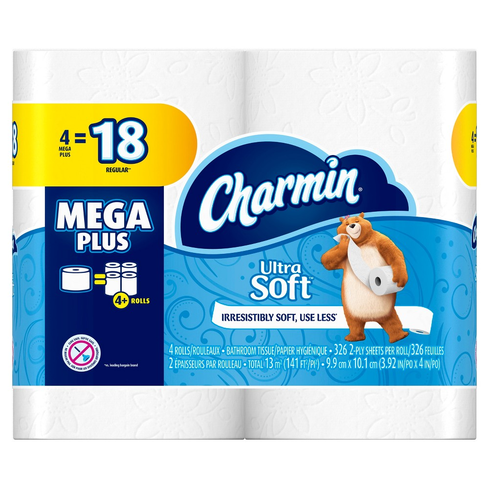 Charmin Ultra Soft Toilet Paper - 4 Mega Plus Rolls