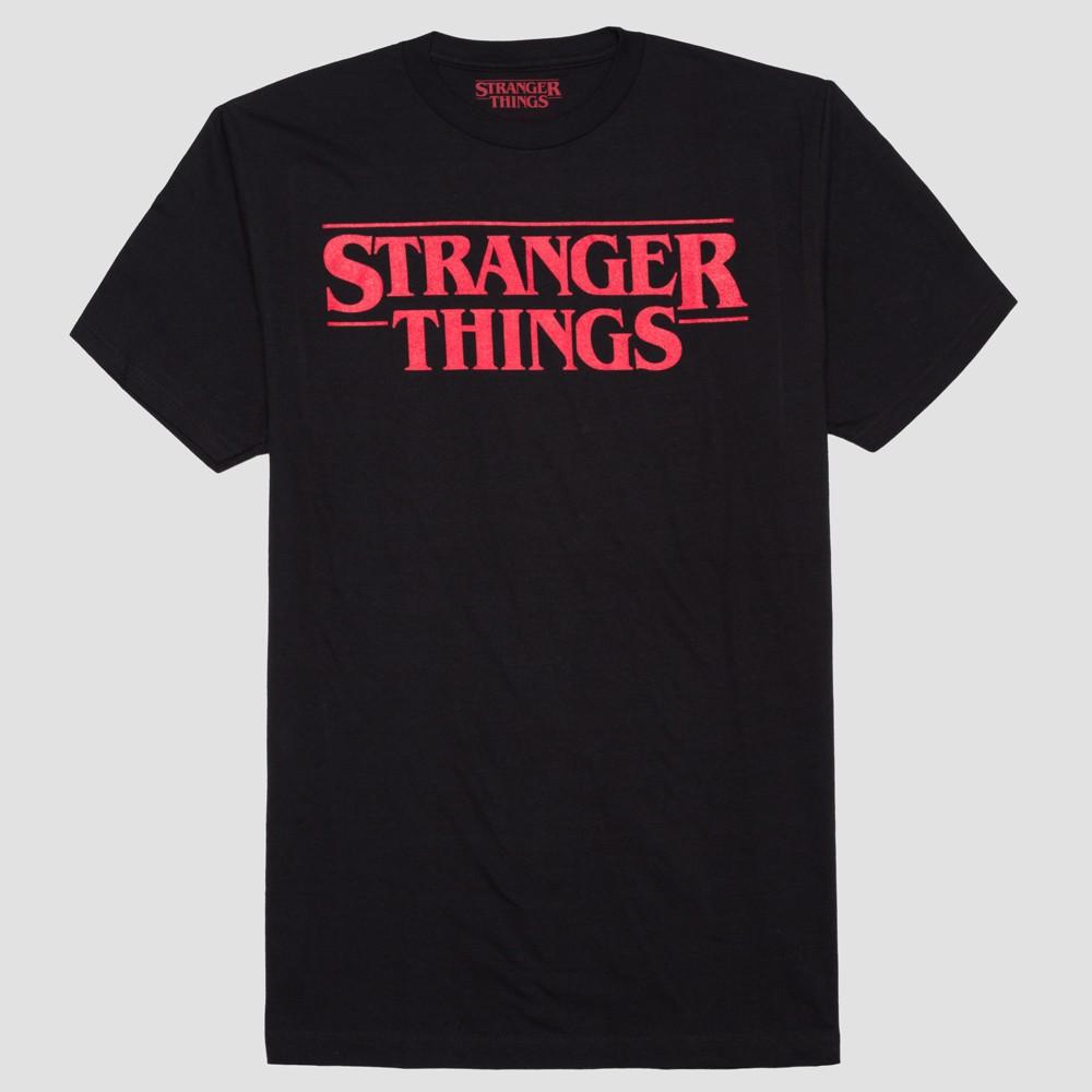 Men's Big & Tall Stranger Things Short Sleeve Logo Graphic T-Shirt - Black 5XL