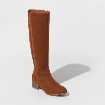 Women's Brielle Microsuede Riding Boots - Universal Thread™ Cognac 8.5