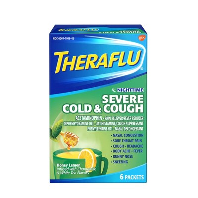 Theraflu Nighttime Severe Cold & Cough Honey Lemon with Chamomile & White Tea Powder - 6ct