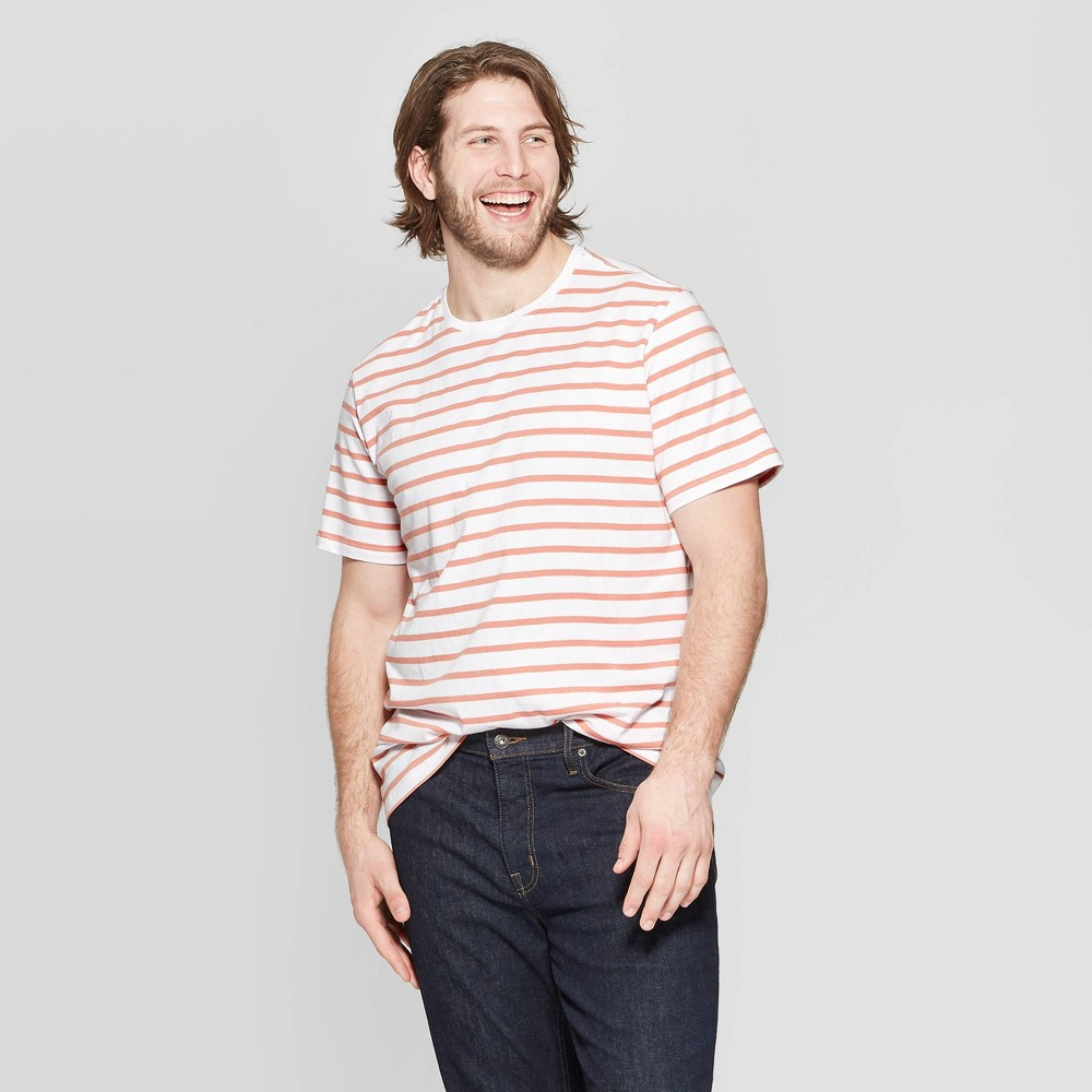 Men's Big & Tall Striped Standard Fit Short Sleeve Novelty T-Shirt - Goodfellow & Co Hearth Brown 5XBT
