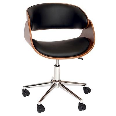 Julian Modern Chair Black/Walnut Veneer Back/Chrome - Armen Living
