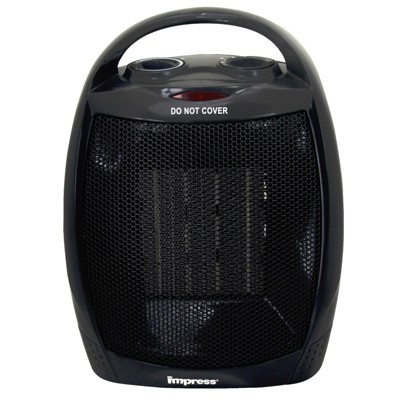 Impress Ceramic Heater with Thermostat in Black