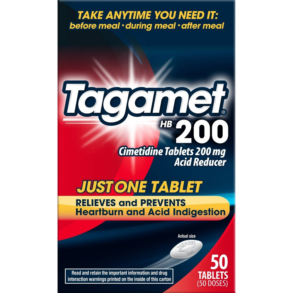 Tagamet HB 200 Acid Reducer Heartburn Relief Tablets – 50ct, Adult Unisex Manage heartburn with Tagamet HB 200. Tagamet HB 200 relieves and prevents heartburn, acid indigestion, and sour stomach. To prevent heartburn symptoms, take Tagamet HB 200 before your first bite or any time up to 30 minutes before eating food or drinking beverages that may cause heartburn. To relieve heartburn symptoms and for relief of acid indigestion and sour stomach, take Tagamet at the first signs of discomfort. Tagamet HB 200 controls stomach acid and prevents heartburn. Tagamet HB 200 can also be taken at bedtime to help prevent heartburn at night. Gender: unisex. Age Group: adult.