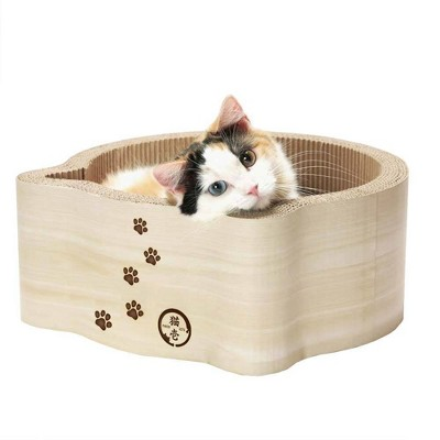 Necoichi Cat Headed Scratcher Bed - Birch
