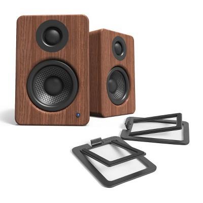 Kanto YU2 Powered Bookshelf Speakers and S2 Desktop Speaker Stands - Pair