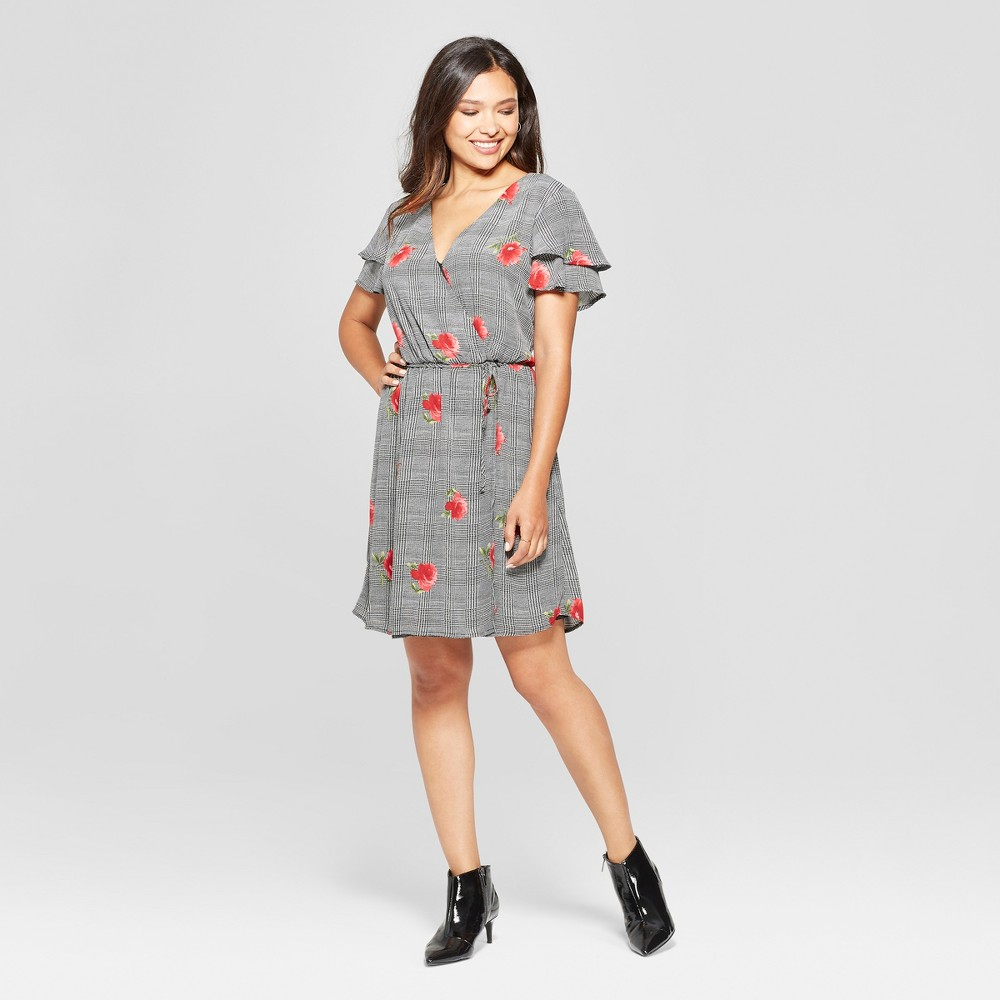 Image of Women's Plaid Floral Ruffle Sleeve Dress - Lux II - Black 10