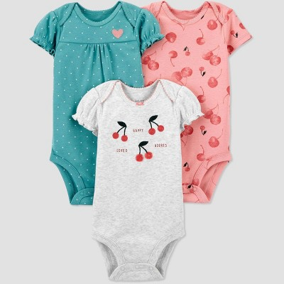 Baby Girls' 3pk Floral Short Sleeve Bodysuit - Just One You® made by carter's Green 9M