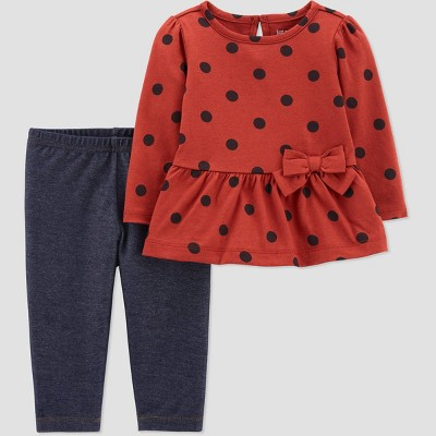 Baby Girls' Dot Top & Bottom Set - Just One You® made by carter's Brown 3M