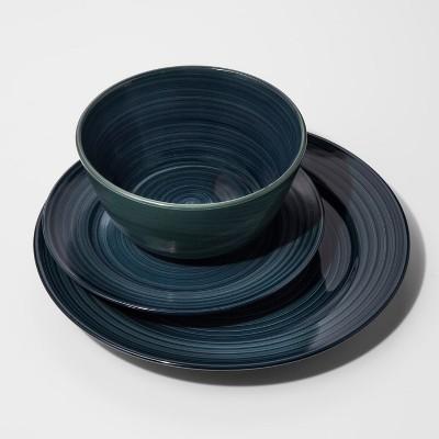 Stoneware 12pc Brushstrokes Dinnerware Set Deep Teal - Threshold™