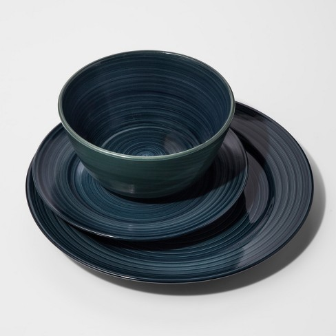 Stoneware 12pc Brushstrokes Dinnerware Set Deep Teal - Threshold™ - image 1 of 1