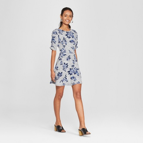 ecf0c591732e Women's Floral Print Short Sleeve Knit Hacci Dress - Lots of Love by  Speechless (Juniors') Gray/Blue