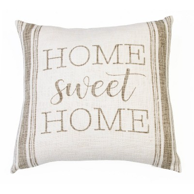 """20""""x20"""" Rae Home Sweet Home Printed Cotton Pillow Taupe - Décor Therapy"""