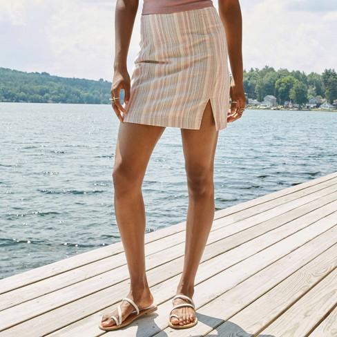 Women's Striped Side Slit Mini Skirt - Wild Fable™ Beige - image 1 of 4