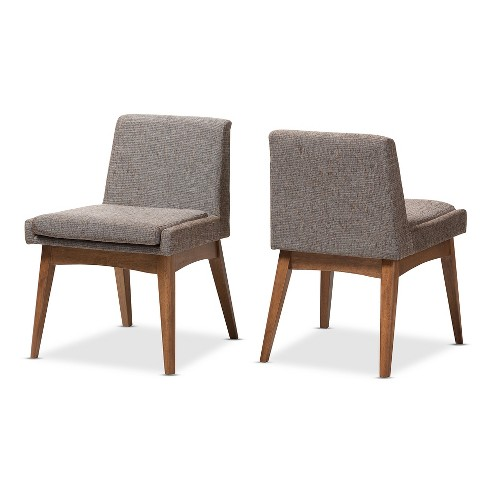 Incredible Set Of 2 Nexus Mid Century Modern Wood Finishing And Fabric Upholstered Dining Side Chair Gravel Multi Color Walnut Brown Baxton Studio Squirreltailoven Fun Painted Chair Ideas Images Squirreltailovenorg