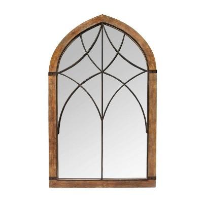 """24.02"""" x 40"""" Augusta Cathedral Mirror Brown/Bronze - Stratton Home Décor"""