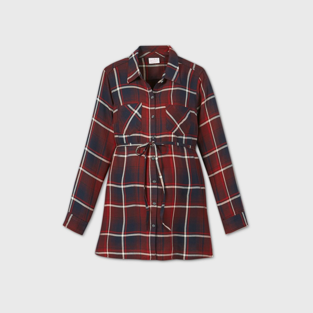 Reviews Maternity Plaid Long Sleeve Popover Tunic - Isabel Maternity by Ingrid & Isabel™